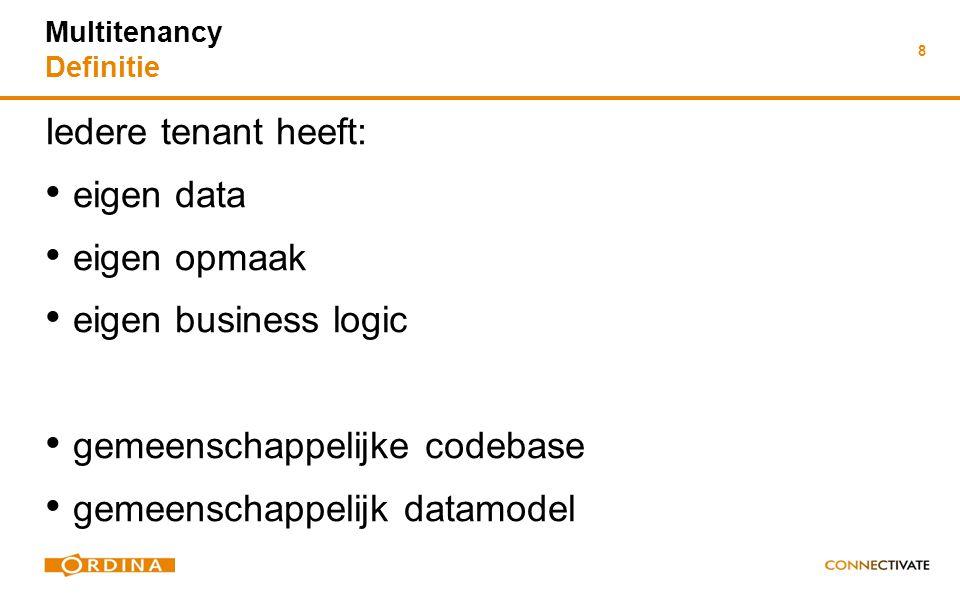 8 Iedere tenant heeft: eigen data eigen opmaak eigen business logic gemeenschappelijke codebase gemeenschappelijk datamodel Iedere tenant heeft: eigen