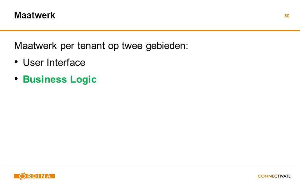 80 Maatwerk Maatwerk per tenant op twee gebieden: User Interface Business Logic