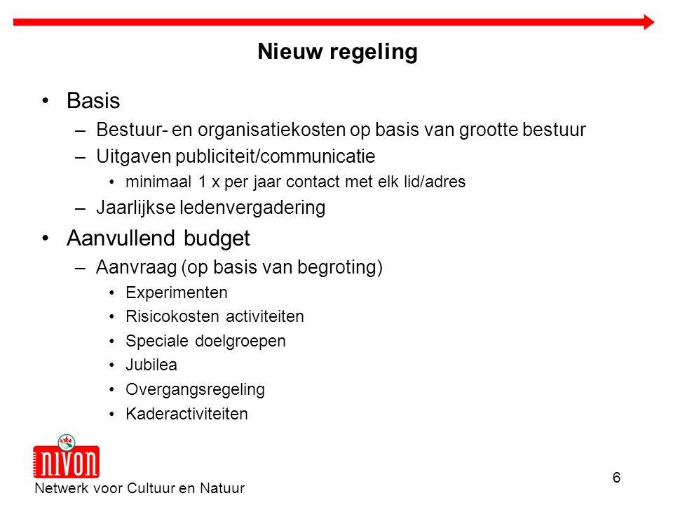 Netwerk voor Cultuur en Natuur 6 Nieuw regeling Basis –Bestuur- en organisatiekosten op basis van grootte bestuur –Uitgaven publiciteit/communicatie m