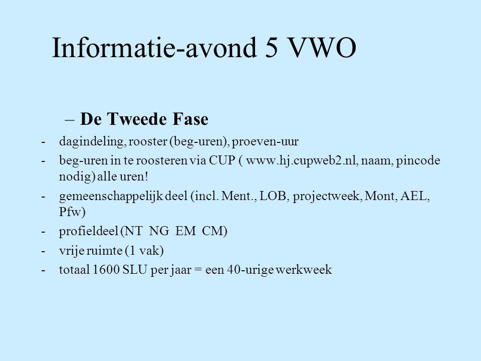 Informatie-avond 5 VWO –De Tweede Fase -dagindeling, rooster (beg-uren), proeven-uur -beg-uren in te roosteren via CUP ( www.hj.cupweb2.nl, naam, pincode nodig) alle uren.