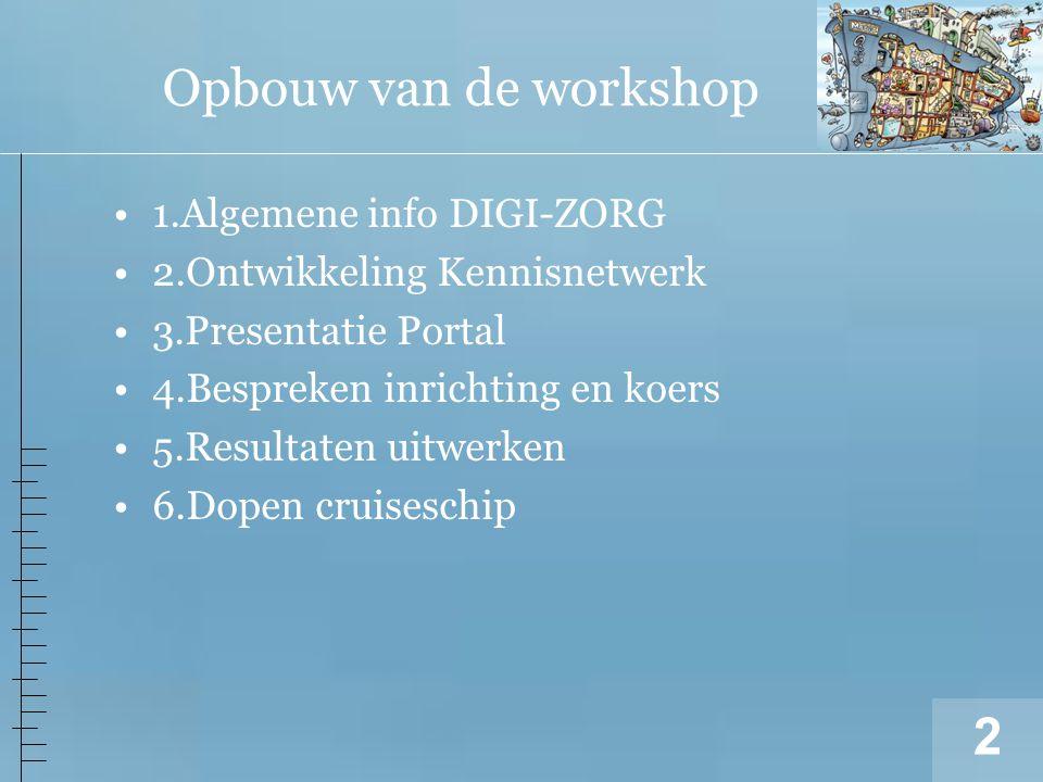 2 1.Algemene info DIGI-ZORG 2.Ontwikkeling Kennisnetwerk 3.Presentatie Portal 4.Bespreken inrichting en koers 5.Resultaten uitwerken 6.Dopen cruiseschip Opbouw van de workshop