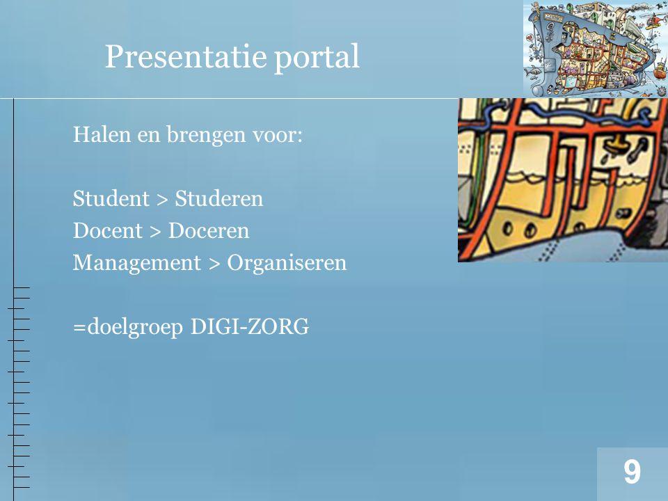 9 Presentatie portal Halen en brengen voor: Student > Studeren Docent > Doceren Management > Organiseren =doelgroep DIGI-ZORG