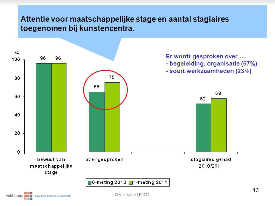 © Veldkamp | P5444 13 Attentie voor maatschappelijke stage en aantal stagiaires toegenomen bij kunstencentra.