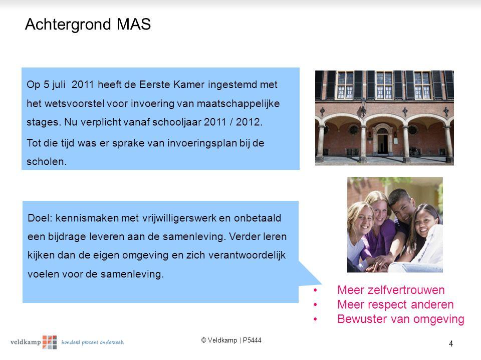 © Veldkamp | P5444 4 Achtergrond MAS Op 5 juli 2011 heeft de Eerste Kamer ingestemd met het wetsvoorstel voor invoering van maatschappelijke stages.