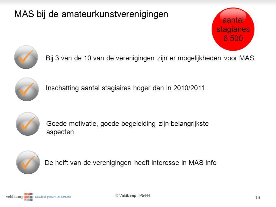 © Veldkamp | P5444 19 MAS bij de amateurkunstverenigingen Bij 3 van de 10 van de verenigingen zijn er mogelijkheden voor MAS.