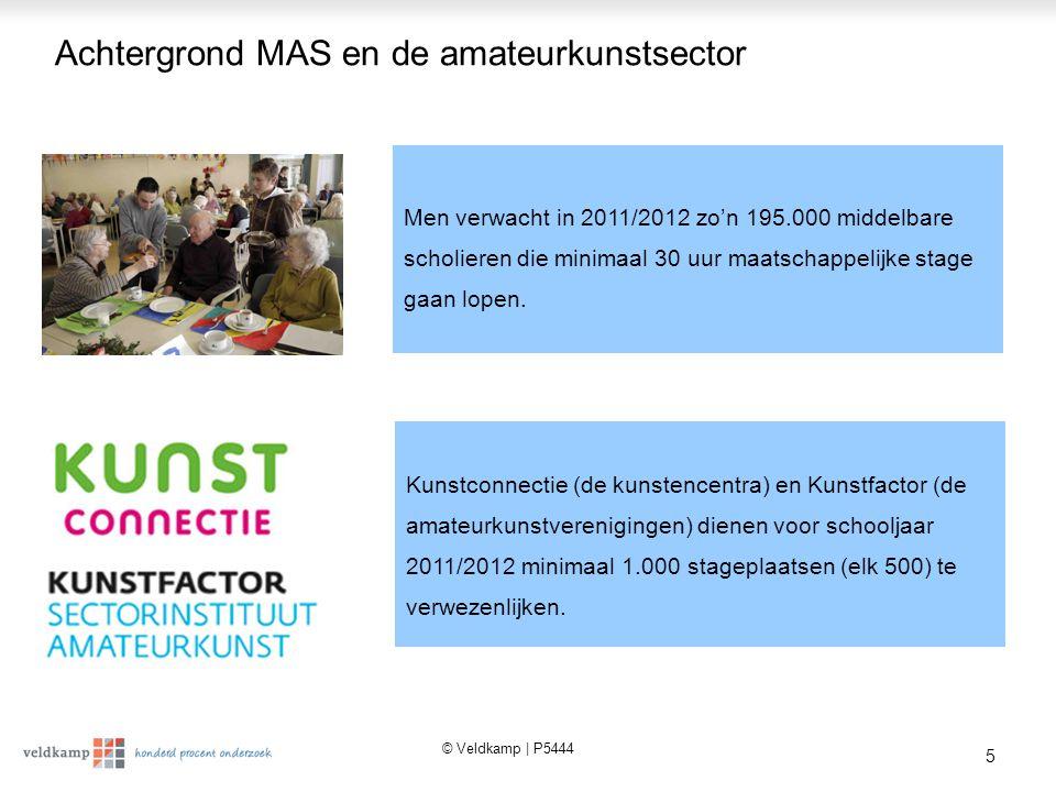 © Veldkamp | P5444 5 Achtergrond MAS en de amateurkunstsector Men verwacht in 2011/2012 zo'n 195.000 middelbare scholieren die minimaal 30 uur maatschappelijke stage gaan lopen.
