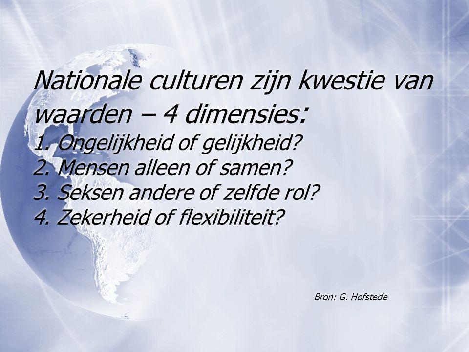 Nationale culturen zijn kwestie van waarden – 4 dimensies : 1. Ongelijkheid of gelijkheid? 2. Mensen alleen of samen? 3. Seksen andere of zelfde rol?