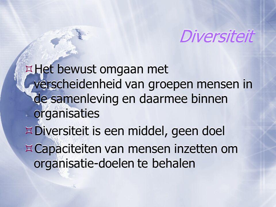 Diversiteit  Het bewust omgaan met verscheidenheid van groepen mensen in de samenleving en daarmee binnen organisaties  Diversiteit is een middel, g
