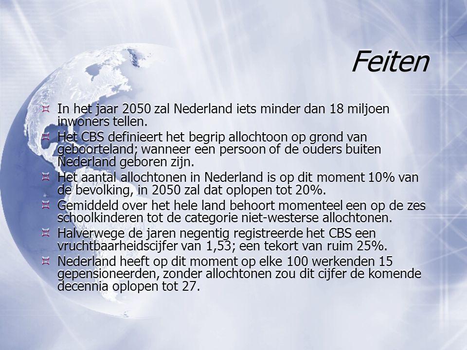 Feiten  In het jaar 2050 zal Nederland iets minder dan 18 miljoen inwoners tellen.  Het CBS definieert het begrip allochtoon op grond van geboortela