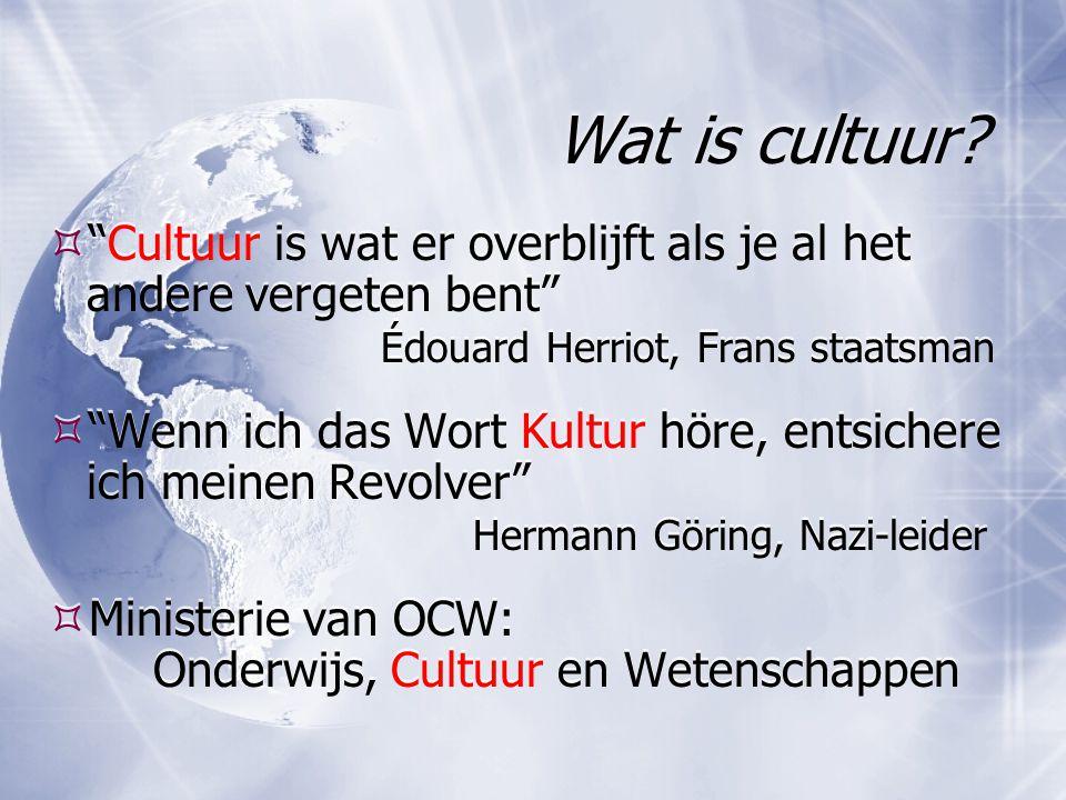 """Wat is cultuur?  """"Cultuur is wat er overblijft als je al het andere vergeten bent"""" Édouard Herriot, Frans staatsman  """"Wenn ich das Wort Kultur höre,"""