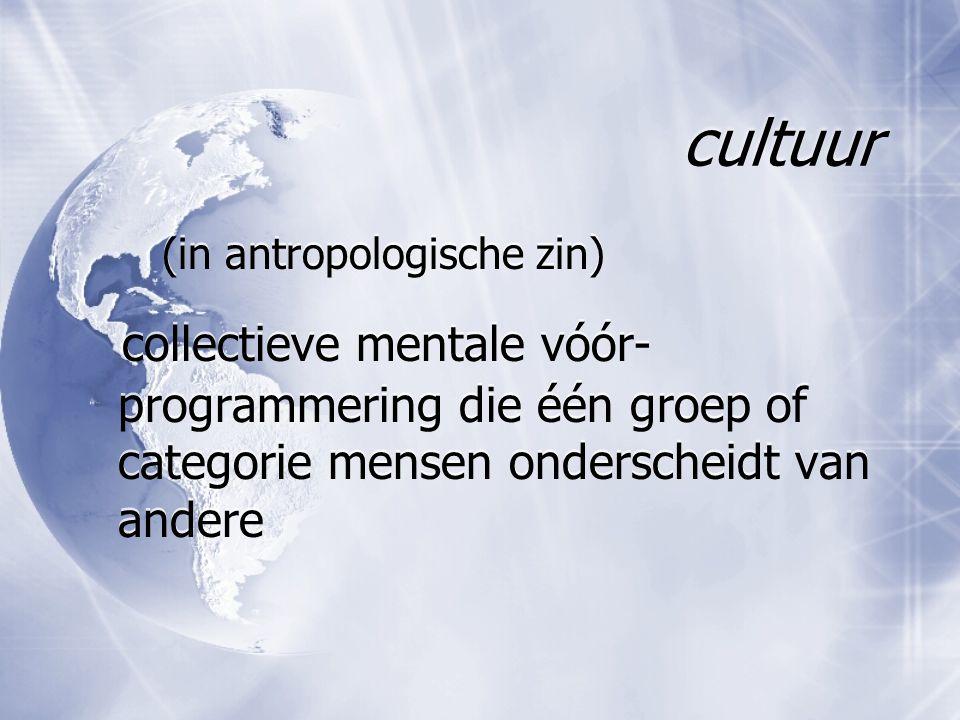 cultuur (in antropologische zin) collectieve mentale vóór- programmering die één groep of categorie mensen onderscheidt van andere (in antropologische
