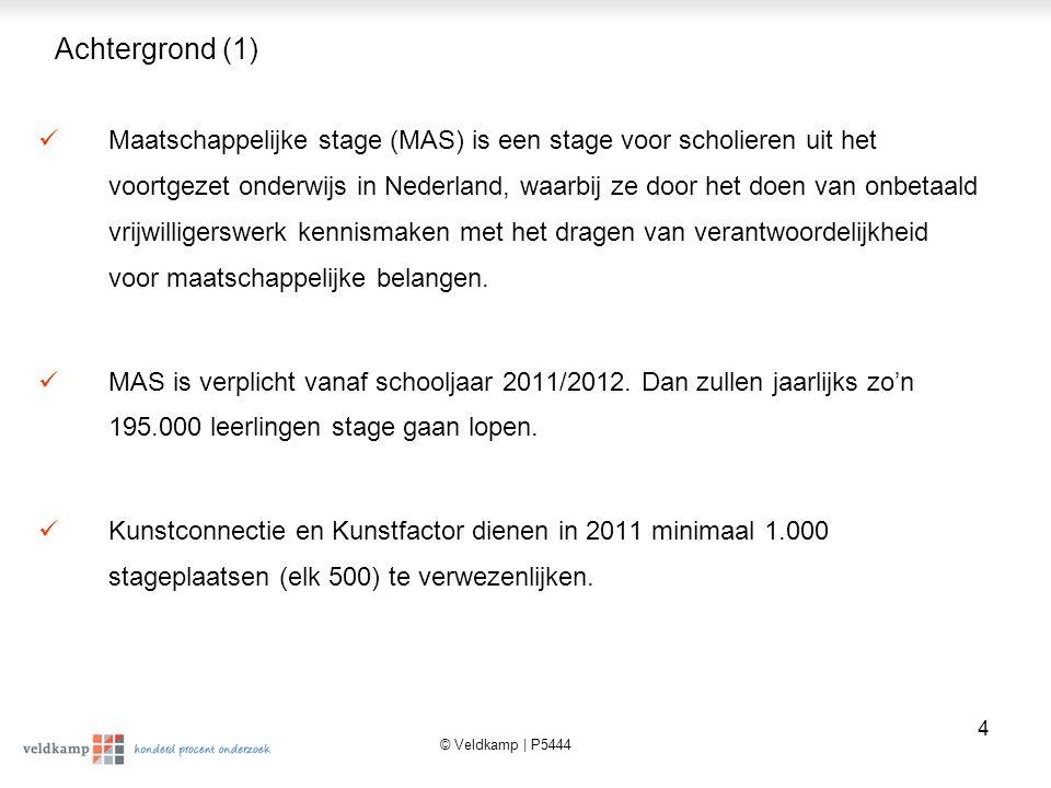 © Veldkamp | P5444 5 Achtergrond (2) Vier belangrijke actoren in het MAS zijn: de leerlingen, de onderwijsinstelling, de stagemakelaars en de stagebieders.