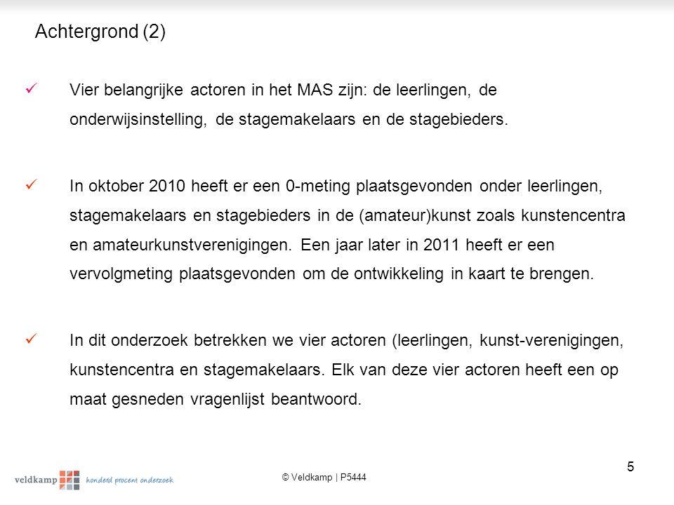 © Veldkamp | P5444 6 Actoren en steekproefaantallen 2011 Leerlingen (n=451) Stagemakelaars (n=75) Stagebieders: Centra voor de kunsten (n=57) & Amateurkunstverenigingen (n=201)