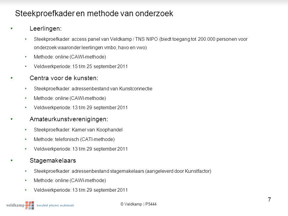 © Veldkamp | P5444 8 Rapportage Deze rapportage betreft de 1-meting, die als basis dient om na de 0-meting in 2010 de ontwikkeling wat betreft de MAS in de amateurkunst- sector in kaart te brengen.