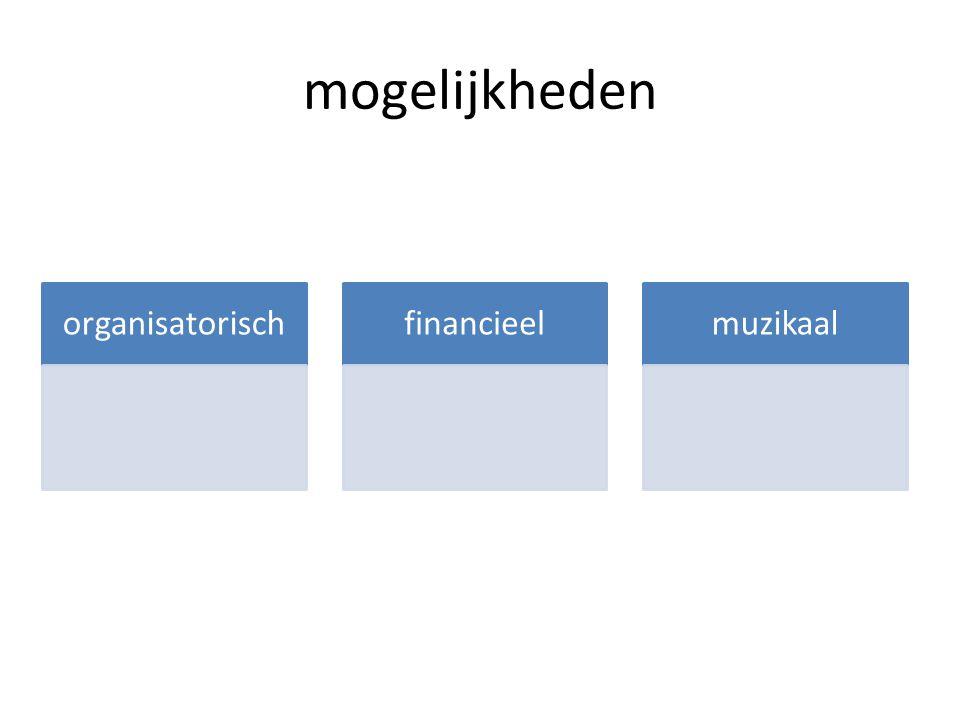 mogelijkheden organisatorischfinancieelmuzikaal