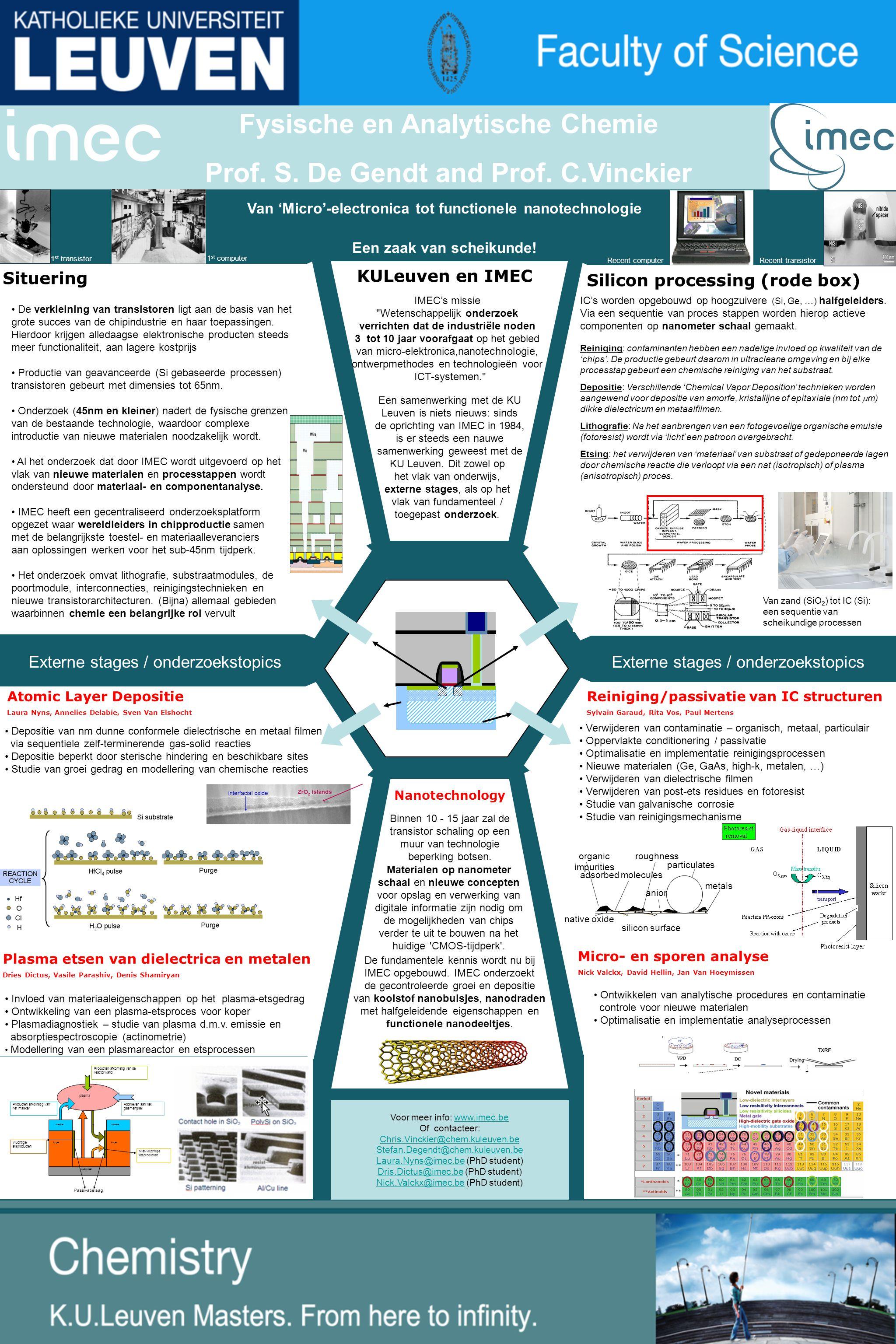 KULeuven en IMEC Situering Van 'Micro'-electronica tot functionele nanotechnologie Een zaak van scheikunde.