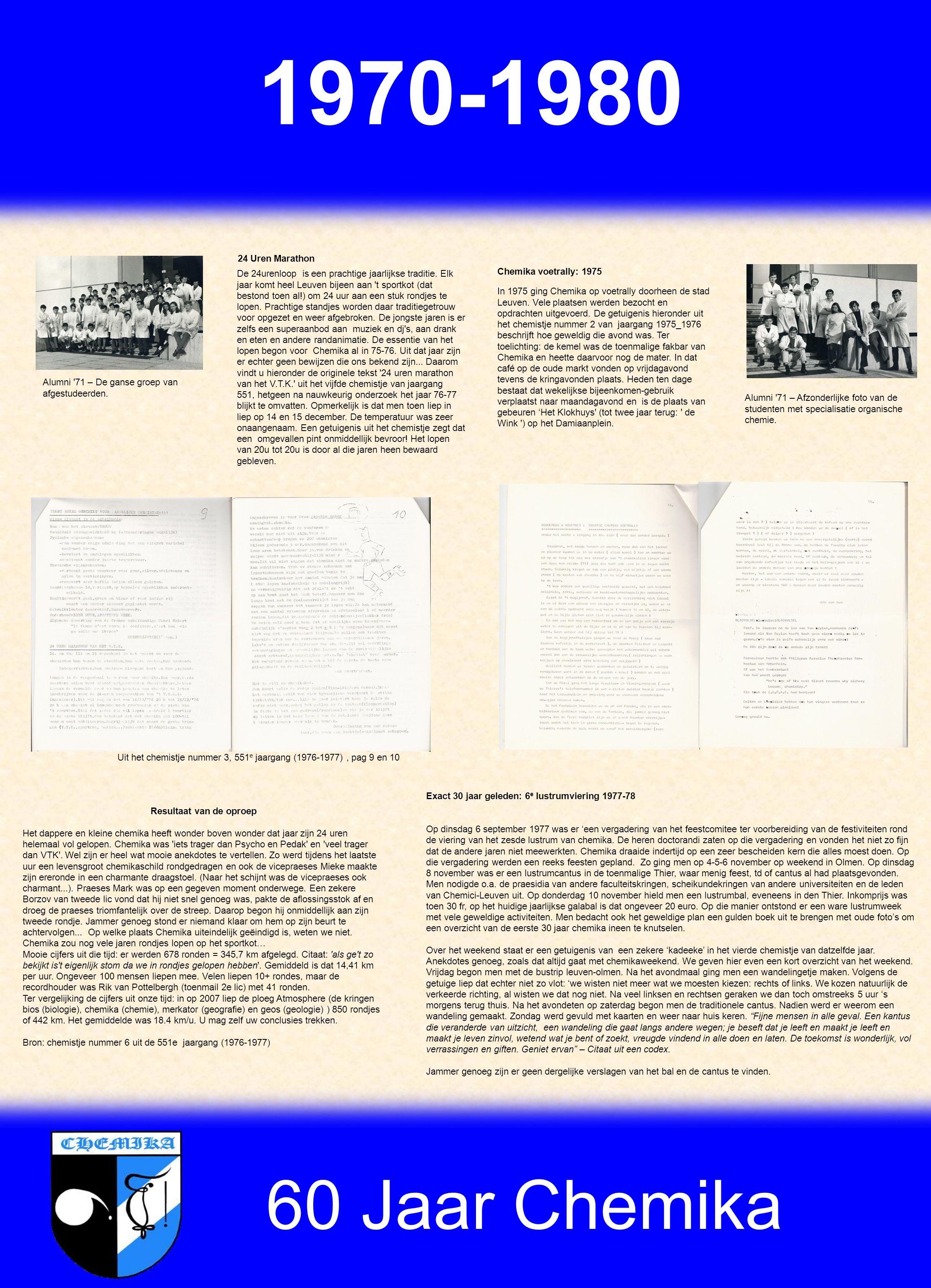 60 Jaar Chemika 1970-1980 Alumni 71 – De ganse groep van afgestudeerden.