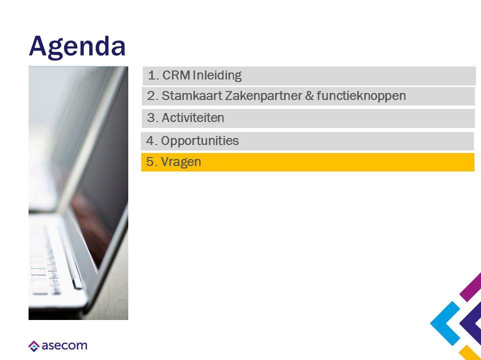 Agenda 1. CRM Inleiding 3. Activiteiten 2. Stamkaart Zakenpartner & functieknoppen 4. Opportunities 5. Vragen