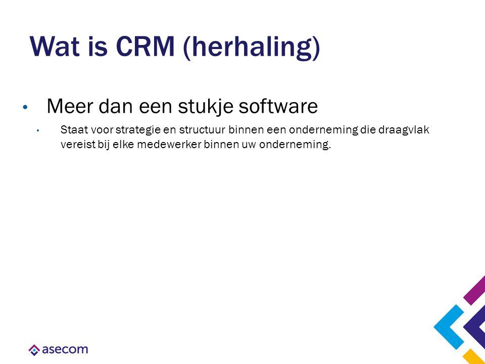 Wat is CRM (herhaling) Meer dan een stukje software Staat voor strategie en structuur binnen een onderneming die draagvlak vereist bij elke medewerker