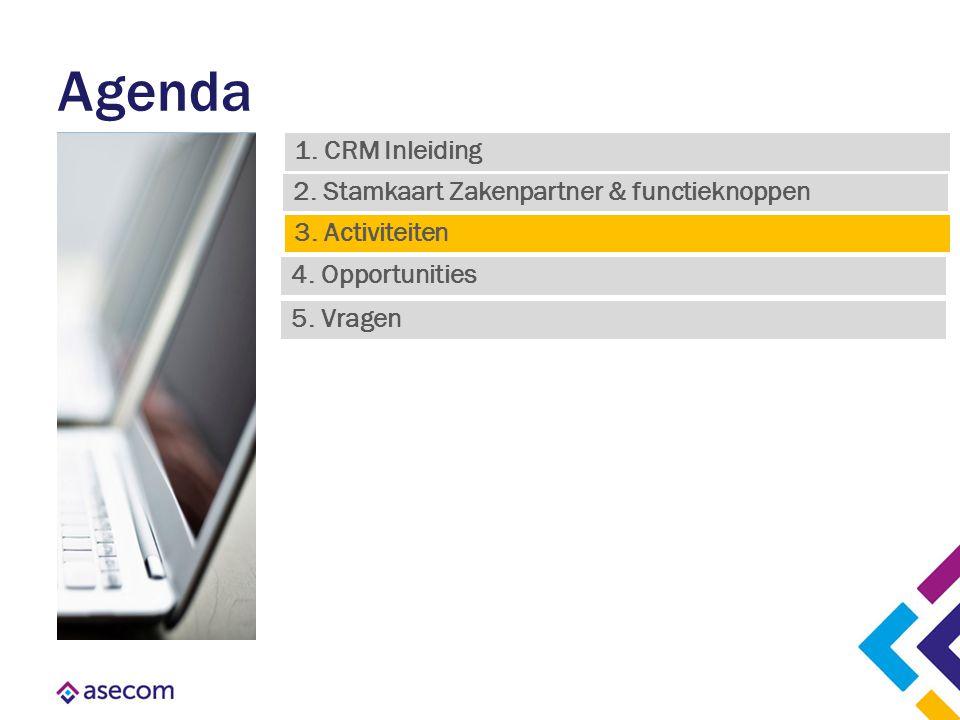 Agenda 1. CRM Inleiding 4. Opportunities 3. Activiteiten 2. Stamkaart Zakenpartner & functieknoppen 5. Vragen