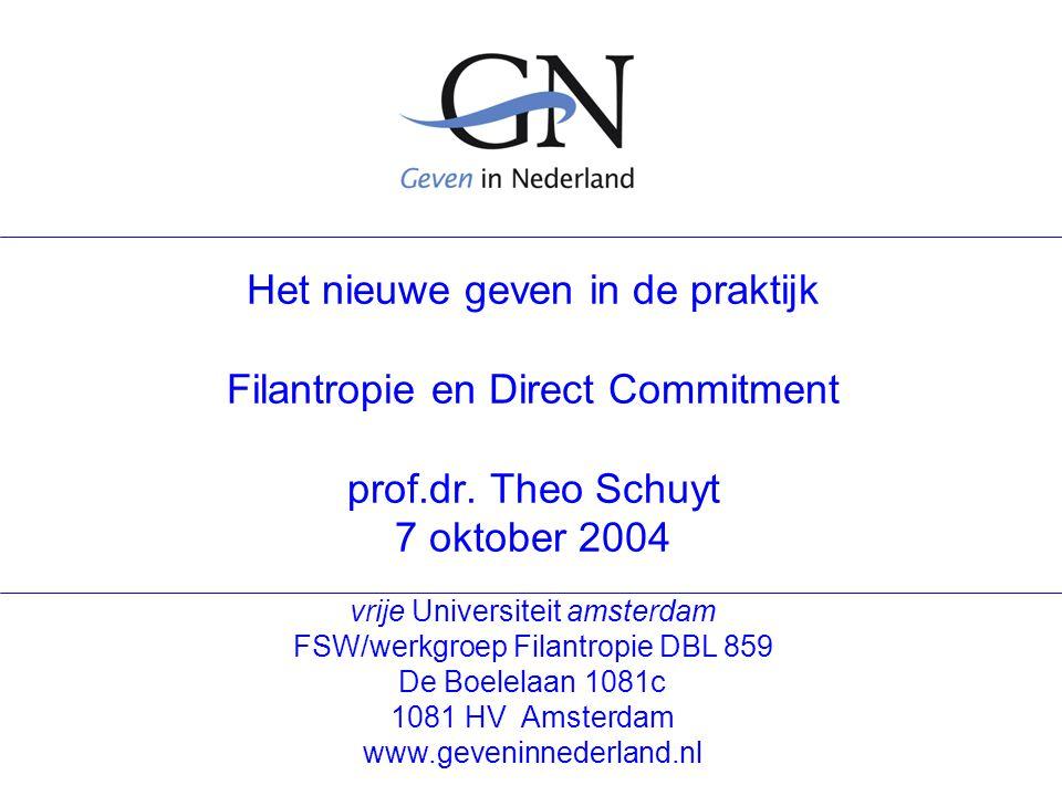 vrije Universiteit amsterdam FSW/werkgroep Filantropie DBL 859 De Boelelaan 1081c 1081 HV Amsterdam www.geveninnederland.nl Het nieuwe geven in de praktijk Filantropie en Direct Commitment prof.dr.