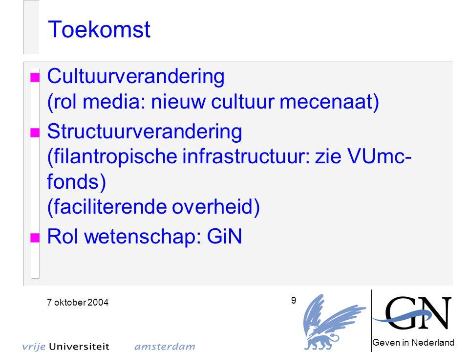 Geven in Nederland 7 oktober 2004 9 Toekomst Cultuurverandering (rol media: nieuw cultuur mecenaat) Structuurverandering (filantropische infrastructuur: zie VUmc- fonds) (faciliterende overheid) Rol wetenschap: GiN