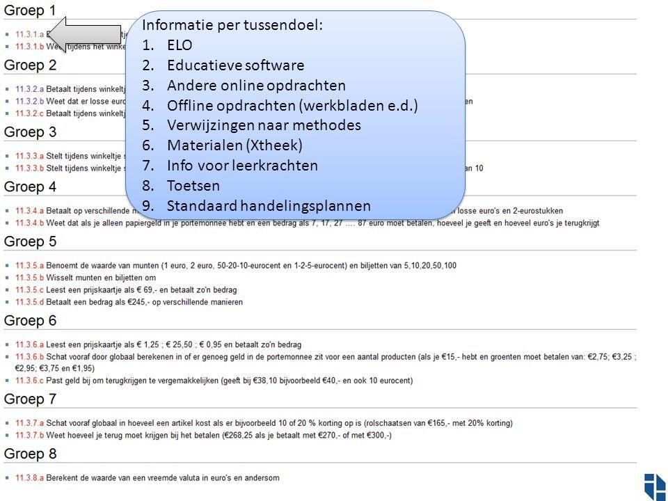 Informatie per tussendoel: 1.ELO 2.Educatieve software 3.Andere online opdrachten 4.Offline opdrachten (werkbladen e.d.) 5.Verwijzingen naar methodes