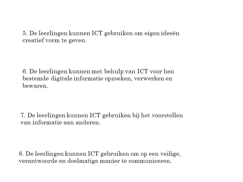 6. De leerlingen kunnen met behulp van ICT voor hen bestemde digitale informatie opzoeken, verwerken en bewaren. 7. De leerlingen kunnen ICT gebruiken
