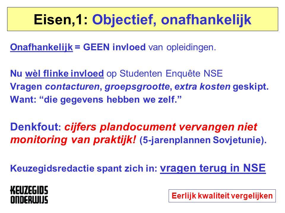 Eisen,1: Objectief, onafhankelijk Onafhankelijk = GEEN invloed van opleidingen. Nu wèl flinke invloed op Studenten Enquête NSE Vragen contacturen, gro