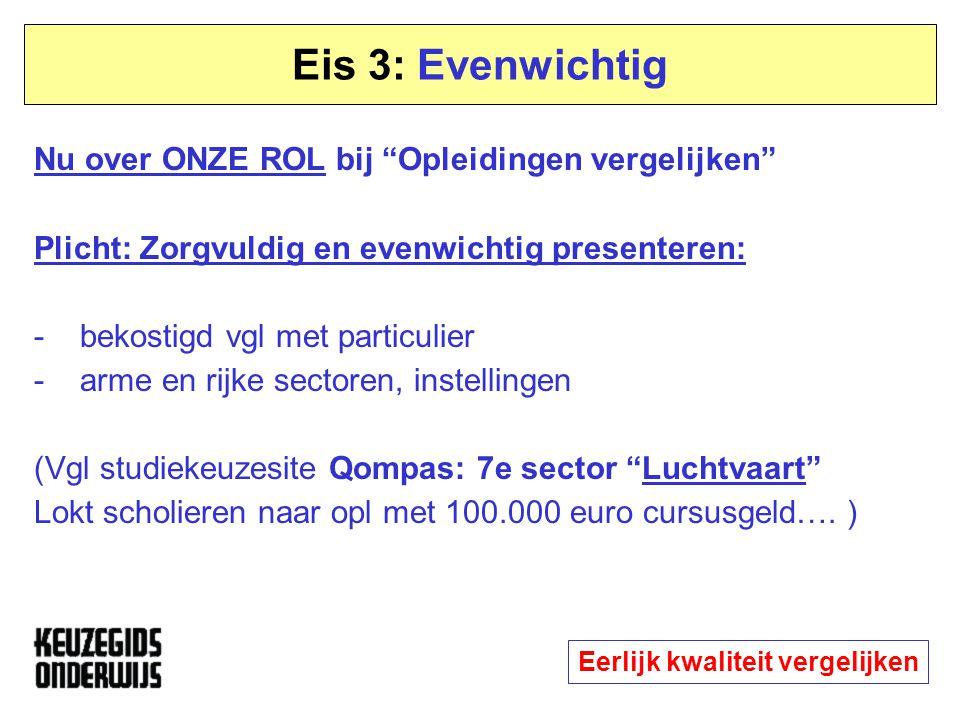 """Eis 3: Evenwichtig Nu over ONZE ROL bij """"Opleidingen vergelijken"""" Plicht: Zorgvuldig en evenwichtig presenteren: - bekostigd vgl met particulier - arm"""
