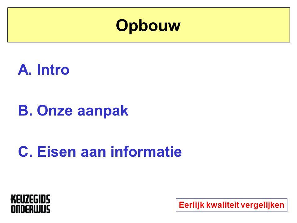 Opbouw A. Intro B. Onze aanpak C. Eisen aan informatie Eerlijk kwaliteit vergelijken