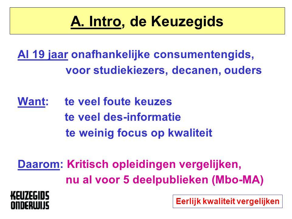 Intro: drie kernbegrippen Opleiding staat centraal = studie bij instelling Kwaliteit van het onderwijs: inhoud / proces / organisatie / faciliteiten Vergelijken - een vak apart Eerlijk kwaliteit vergelijken
