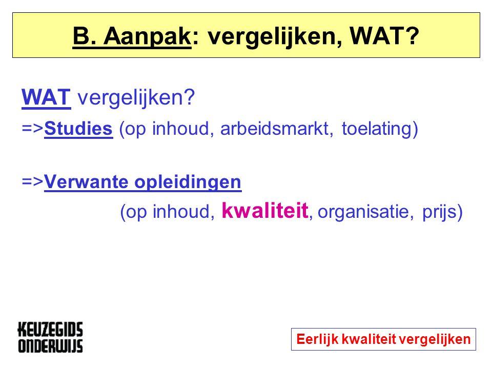 B. Aanpak: vergelijken, WAT? WAT vergelijken? =>Studies (op inhoud, arbeidsmarkt, toelating) =>Verwante opleidingen (op inhoud, kwaliteit, organisatie