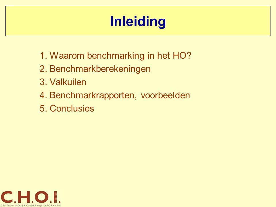 Inleiding 1. Waarom benchmarking in het HO? 2. Benchmarkberekeningen 3. Valkuilen 4. Benchmarkrapporten, voorbeelden 5. Conclusies