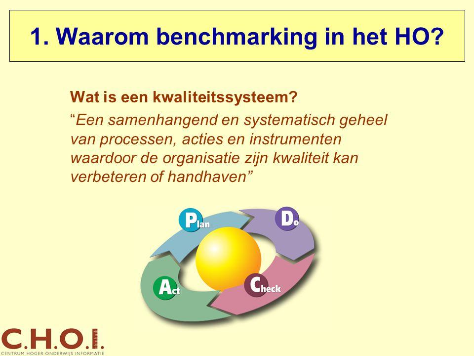 """1. Waarom benchmarking in het HO? Wat is een kwaliteitssysteem? """"Een samenhangend en systematisch geheel van processen, acties en instrumenten waardoo"""