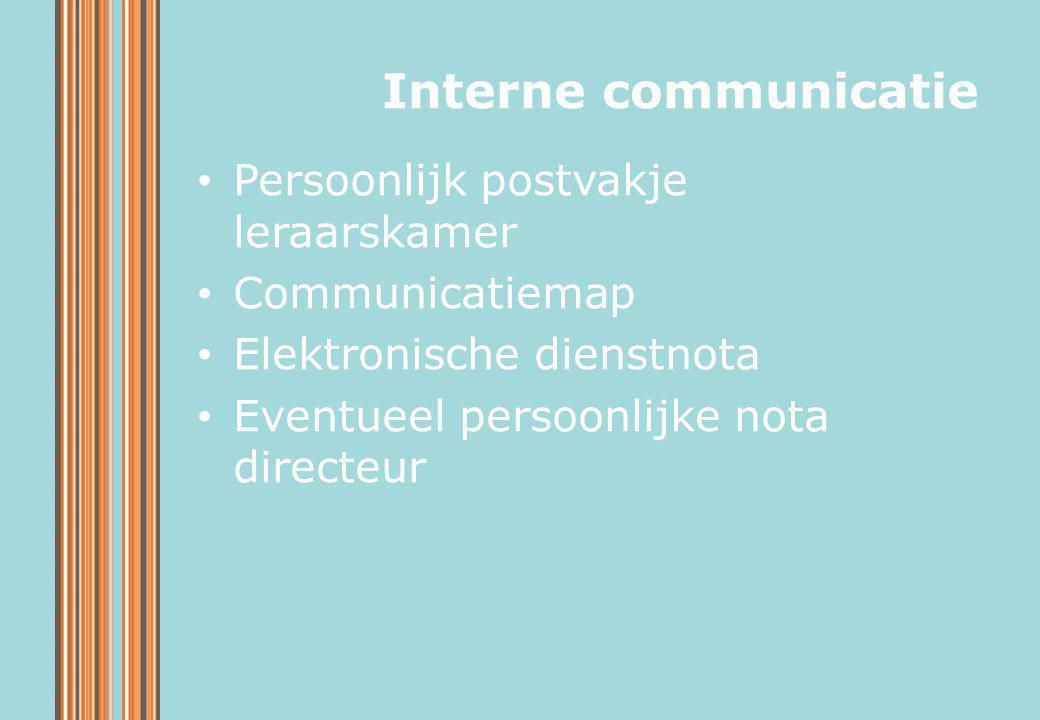 Persoonlijk postvakje leraarskamer Communicatiemap Elektronische dienstnota Eventueel persoonlijke nota directeur Interne communicatie