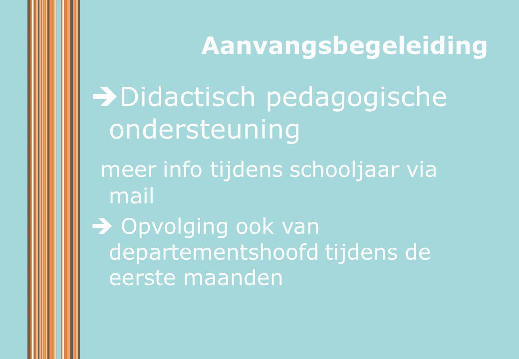  Didactisch pedagogische ondersteuning meer info tijdens schooljaar via mail  Opvolging ook van departementshoofd tijdens de eerste maanden Aanvangs