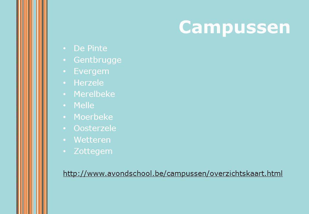 Campussen De Pinte Gentbrugge Evergem Herzele Merelbeke Melle Moerbeke Oosterzele Wetteren Zottegem http://www.avondschool.be/campussen/overzichtskaar