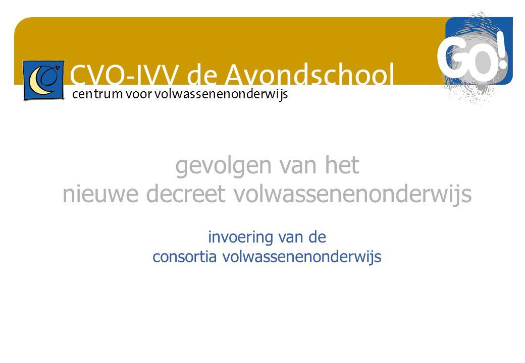 CVO-IVV de Avondschool centrum voor volwassenenonderwijs gevolgen van het nieuwe decreet volwassenenonderwijs invoering van de consortia volwassenenon
