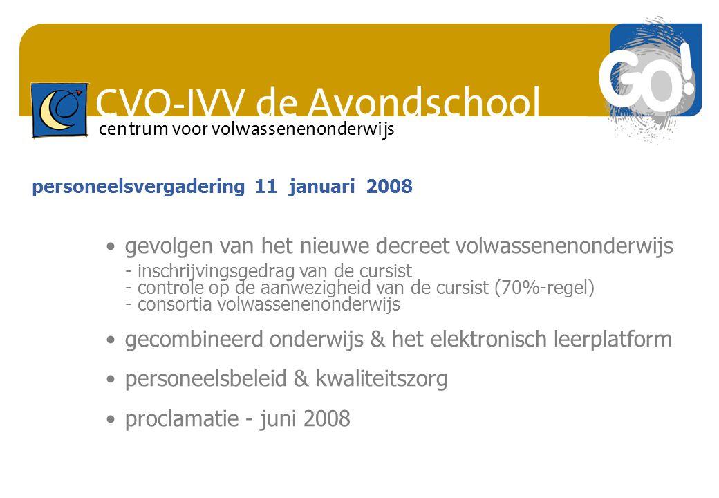 CVO-IVV de Avondschool centrum voor volwassenenonderwijs gevolgen van het nieuwe decreet volwassenenonderwijs - inschrijvingsgedrag van de cursist - c