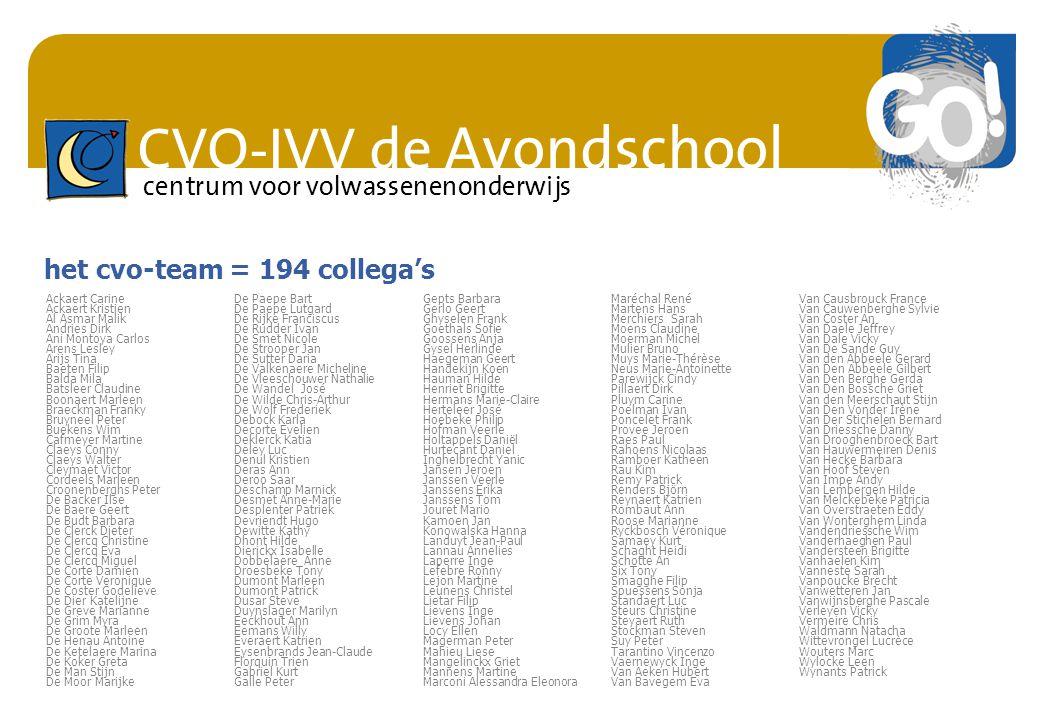 CVO-IVV de Avondschool centrum voor volwassenenonderwijs het cvo-team = 194 collega's Ackaert CarineDe Paepe BartGepts BarbaraMaréchal RenéVan Causbro