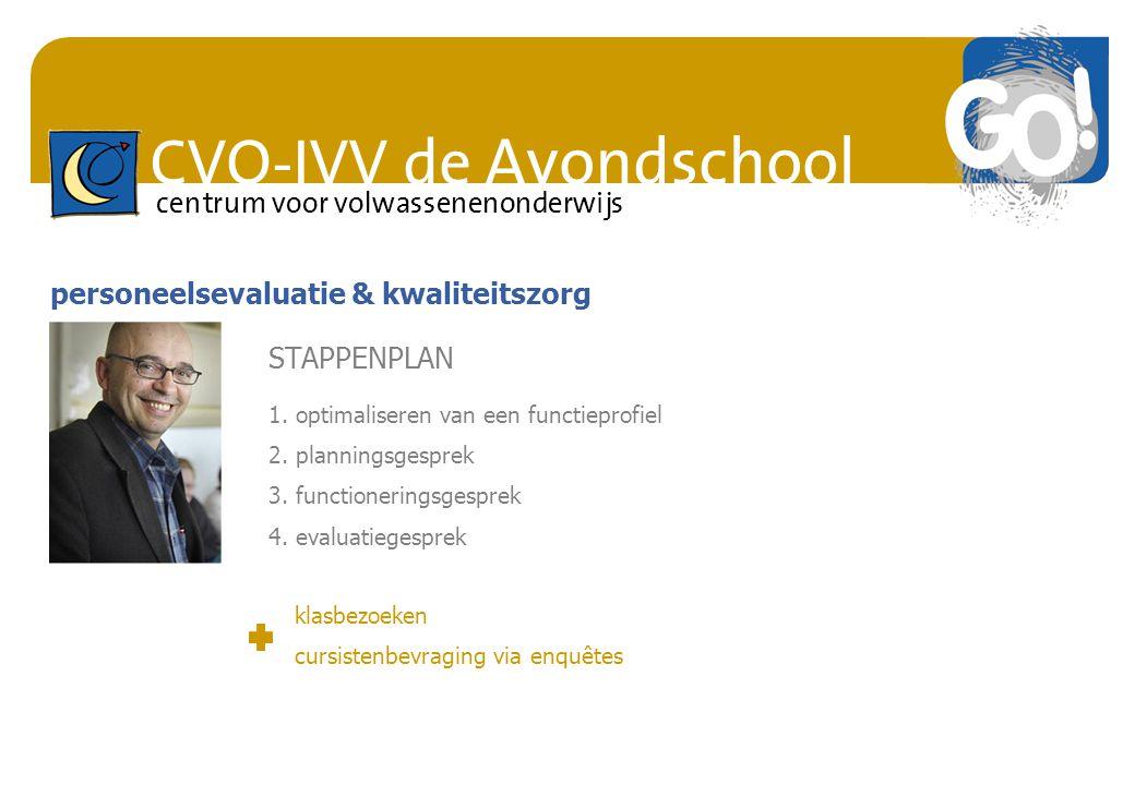 CVO-IVV de Avondschool centrum voor volwassenenonderwijs personeelsevaluatie & kwaliteitszorg STAPPENPLAN 1. optimaliseren van een functieprofiel 2. p