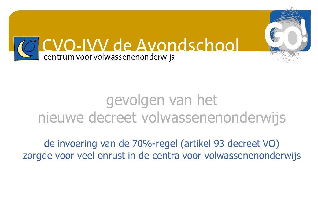 CVO-IVV de Avondschool centrum voor volwassenenonderwijs gevolgen van het nieuwe decreet volwassenenonderwijs de invoering van de 70%-regel (artikel 9