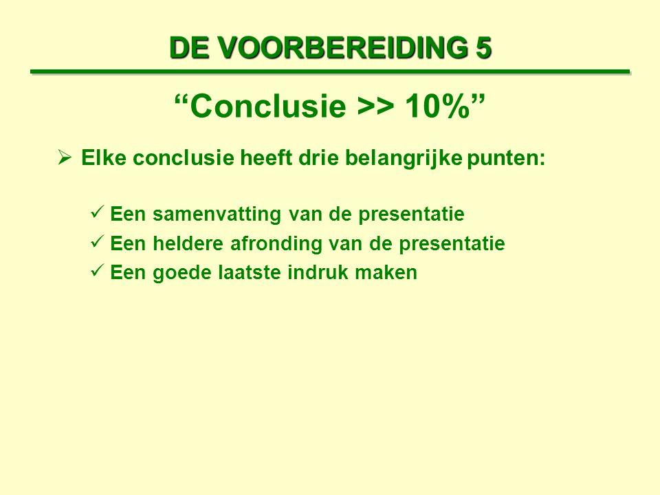 DE VOORBEREIDING 5  Elke conclusie heeft drie belangrijke punten: Een samenvatting van de presentatie Een heldere afronding van de presentatie Een go
