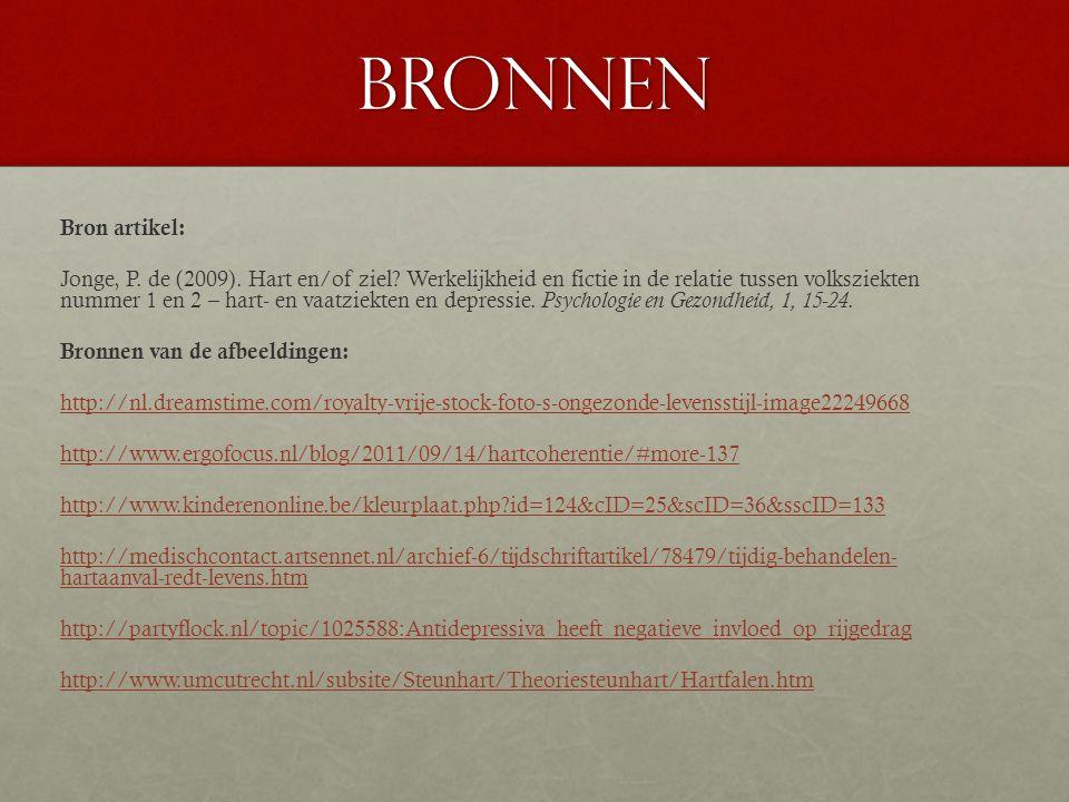 BRONNEN Bron artikel: Jonge, P.de (2009). Hart en/of ziel.