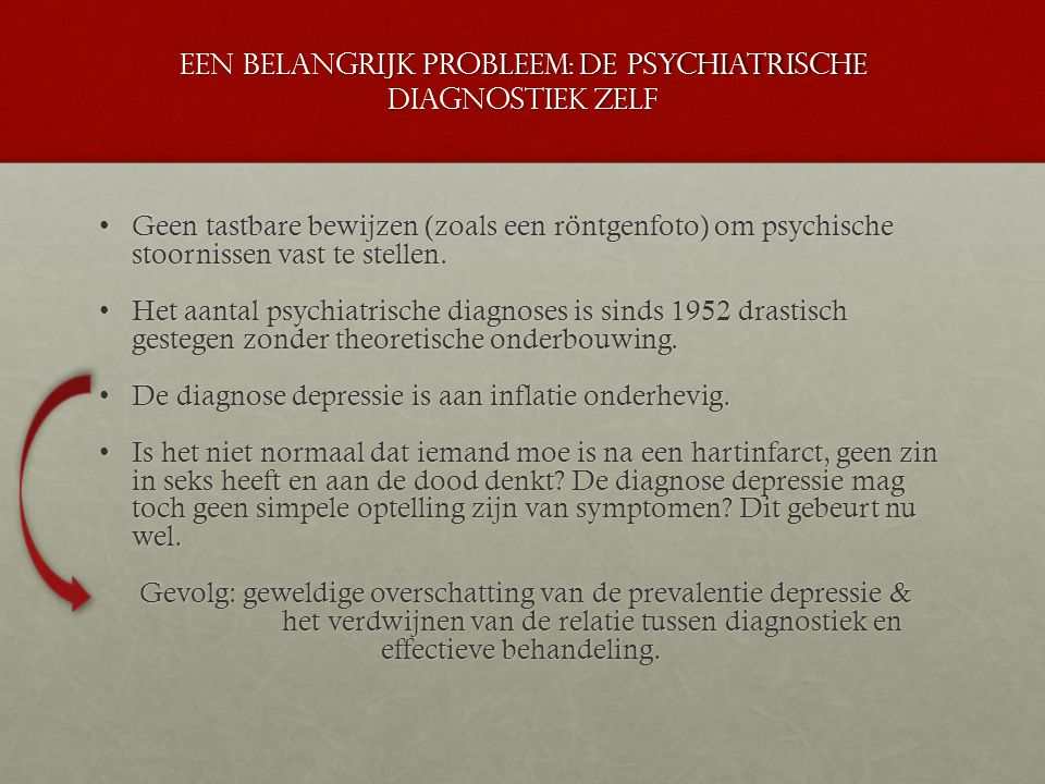 Een belangrijk probleem: de psychiatrische diagnostiek zelf Geen tastbare bewijzen (zoals een röntgenfoto) om psychische stoornissen vast te stellen.G