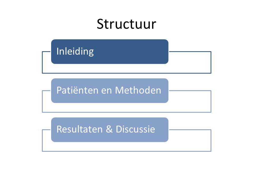 Structuur InleidingPatiënten en MethodenResultaten & Discussie