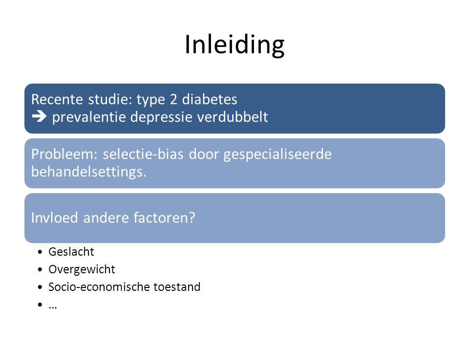 Inleiding Recente studie: type 2 diabetes  prevalentie depressie verdubbelt Probleem: selectie-bias door gespecialiseerde behandelsettings. Invloed a