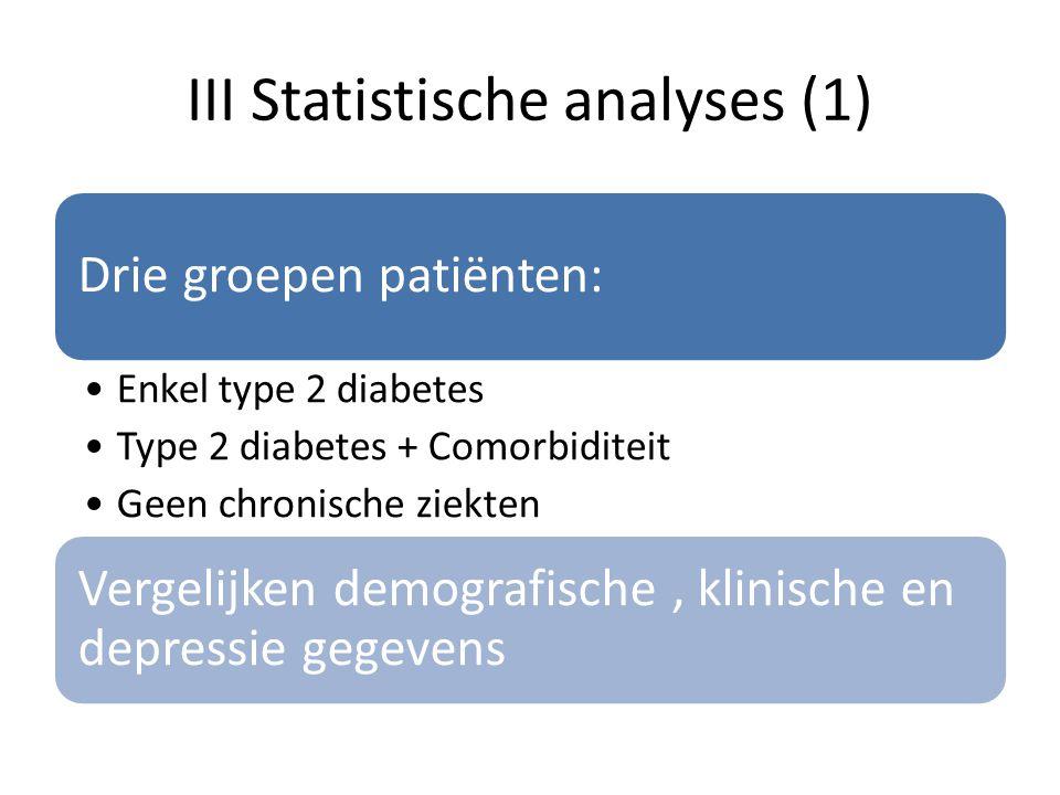 III Statistische analyses (1) Drie groepen patiënten: Enkel type 2 diabetes Type 2 diabetes + Comorbiditeit Geen chronische ziekten Vergelijken demogr