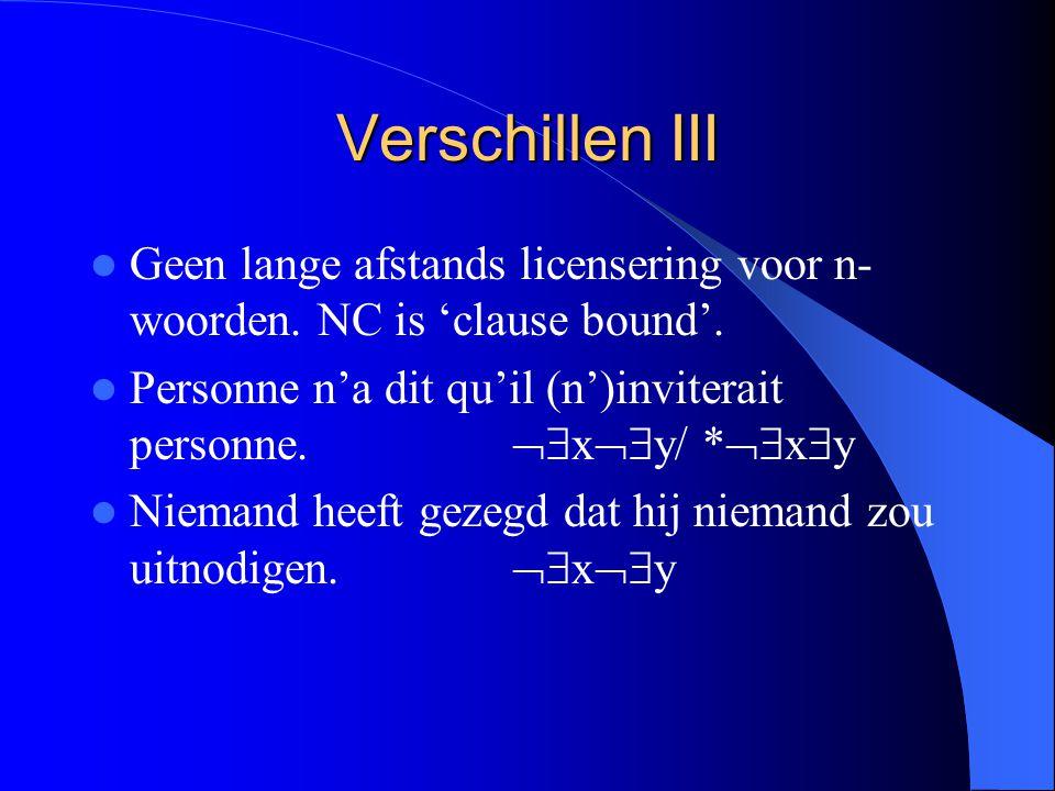 Verschillen III Geen lange afstands licensering voor n- woorden.